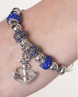Pulseira de metal prateada com strass azul Holls