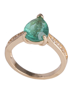 Anel de metal dourado com pedra fusion verde bey