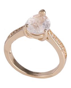 Anel de metal dourado com pedra fusion cristal bey