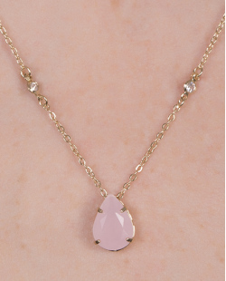 Colar de metal dourado com pedra rosa Blanc