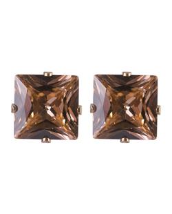 Brinco pequeno de metal dourado com pedra rosé Carosella