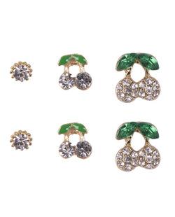 Kit com 3 pares de brincos pequenos dourado com pedra verde Morett