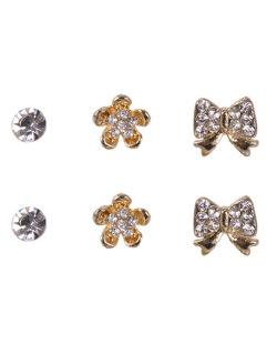Kit com 3 pares de brincos pequenos dourado com strass cristal Peace