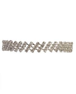 Pulseira de metal prateado com pedra cristal Zerou