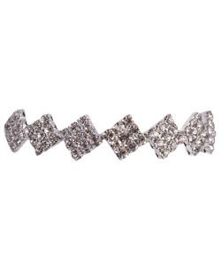 Pulseira de metal prateado com strass cristal camilla