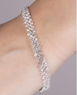 Pulseira de metal prateado com strass cristal lady