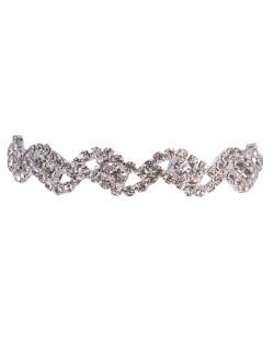 Pulseira de metal prateado com strass cristal willi