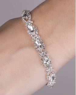Pulseira de metal prateado com pedra cristal deborah