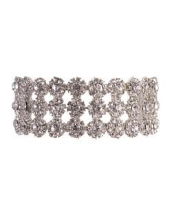Pulseira de metal prateado com pedra cristal jolie