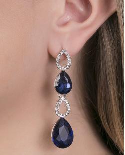 Maxi brinco de metal prateado com strass cristal e pedra azul Vanessa