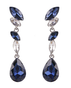 Maxi brinco de metal prateado com  pedra azul e cristal Nina