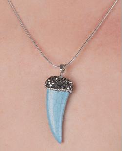 Kit brinco mais colar de metal prateado com pedra azul Belinda