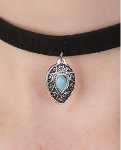 Gargantilha choker de courino preto com pedra turquesa Pandora