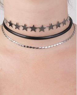 Kit 3 colares de metal prateado Rúbia