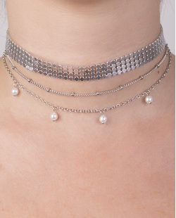 Kit 3 colares de metal prateado com peróla Tâmara