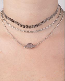 Kit 3 colares de metal prateado com pedra fumê Anita