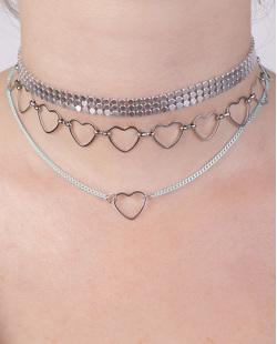 Kit 3 colares de metal prateado e azul Eugênia