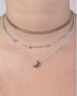 Kit 3 colares de metal prateado e azul Leila