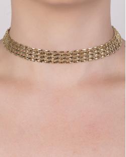 Gargantilha choker de metal dourado Amálie