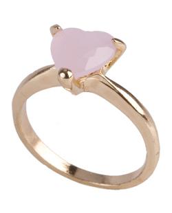 Anel de metal dourado com pedra rosa Adele
