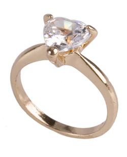 Anel de metal dourado com pedra cristal Adele