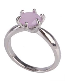 Anel de metal prateado com pedra rosa Brianna