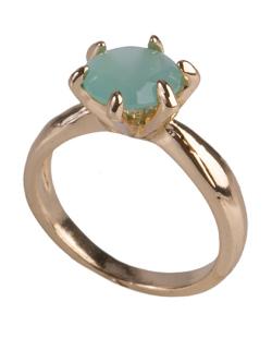 Anel de metal dourado com pedra verde Brianna