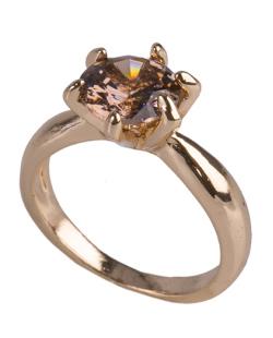 Anel de metal dourado com pedra rosé Brianna