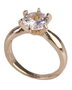 Anel de metal dourado com pedra cristal  Brianna