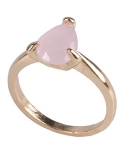 Anel de metal dourado com pedra rosa Kate