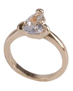 Anel de metal dourado com pedra cristal Kate