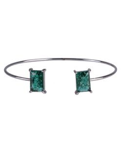 Bracelete de metal grafite com pedra fusion verde Maggie