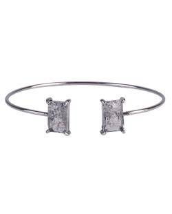 Bracelete de metal grafite com pedra fusion fumê Maggie