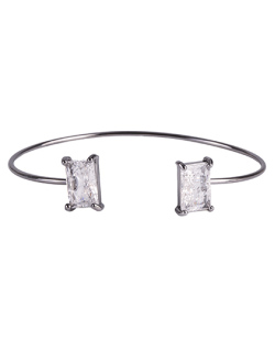 Bracelete de metal grafite com pedra fusion cristal Maggie