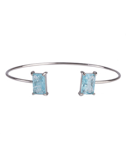 Bracelete de metal prateado com pedra fusion turquesa Maggie