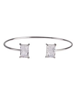 Bracelete de metal prateado com pedra fusion cristal Maggie