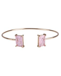 Bracelete de metal dourado com pedra fusion rosa Maggie