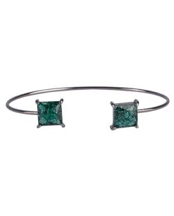 Bracelete de metal grafite com pedra fusion verde Peggy