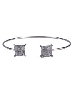 Bracelete de metal grafite com pedra fusion fumê Peggy
