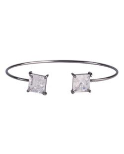 Bracelete de metal grafite com pedra fusion cristal Peggy