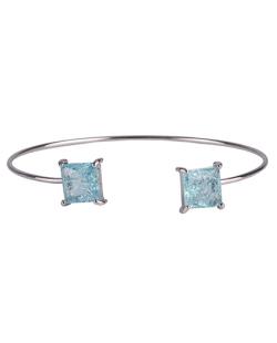 Bracelete de metal prateado com pedra fusion turquesa Peggy
