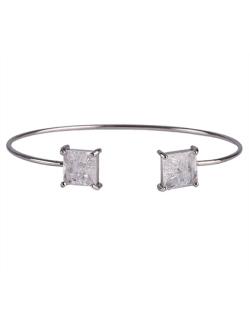 Bracelete de metal prateado com pedra fusion cristal Peggy
