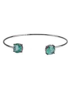Bracelete de metal grafite com pedra fusion verde Jessy