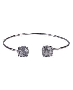 Bracelete de metal grafite com pedra fusion fumê Jessy