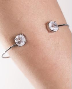 Bracelete de metal grafite com pedra fusion cristal Jessy