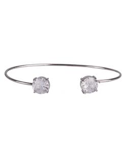 Bracelete de metal prateado com pedra fusion cristal Jessy