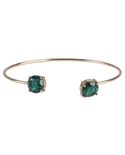 Bracelete de metal dourado com pedra fusion verde Jessy