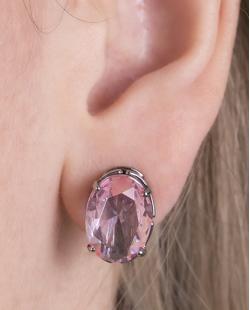Kit colar mais brinco de metal grafite com pedra raibow rosa Susie