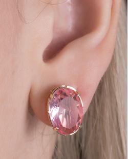 Kit colar mais brinco de metal dourado com pedra raibow rosa Susie