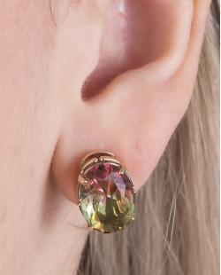 Kit colar mais brinco de metal dourado com pedra raibow melancia Susie